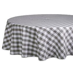 "DII 70"" Round Cotton Tablecloth, Grey & White Check - Perfec"