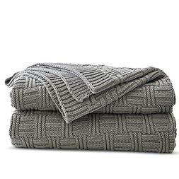 Cotton Cable Gray Knit Throw Blanket for Couch Chairs Bed Be