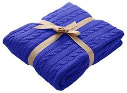 NTBAY 100% Cotton Cable Knit Super Soft Warm Throw Blanket,