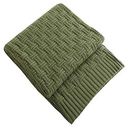 Treely 100% Cotton Cable Knit Throw Blanket for Couch Bed So