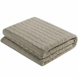 uxcell Cotton Cable Knit Throw Blanket Super Soft Throw Couc