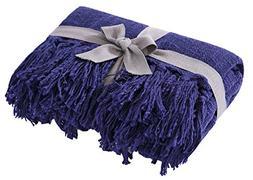 SLPR 100% Cotton Dark Blue Throw Blanket with Fringes  | Sof