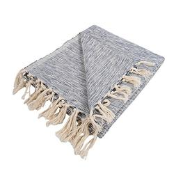 DII Rustic Farmhouse Cotton Variegated Blanket Throw with Fr