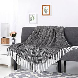 LANGRIA Cotton Geometrical Pattern Blanket Throw with Tassel