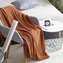 ANJUREN Cotton Knit Reversible Lap Throw Blanket for Couch S