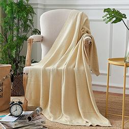 ETECHMART Natural 100% Cotton Knit Throw Blanket Lightweight
