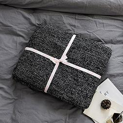 Prosshop 100% Cotton Knit Throw Blanket Super Soft Fish Bone