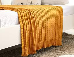 100% All Cotton Knit Throw for Sofa Classic Cable Pattern, 7