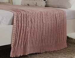 100% All Cotton Knit Throw for Sofa Classic Cable Pattern, 4