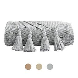 DOMIKING 100% Cotton Knitted Throws and Blankets for Sofa Co
