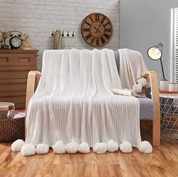 Juwenin Home 100% Cotton Knitted Throw Blanket, Sofa/Bedding