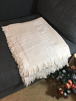 SurCozy Cotton+Linen Woven Throw Blanket, Natural, 50x70inch