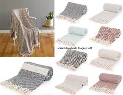 Cotton Tassel Throw Hand Woven Soft Warm Throw Blanket Rever