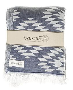 Bersuse 100% Cotton Teotihuacan XL Dual-Layer Blanket Turkis