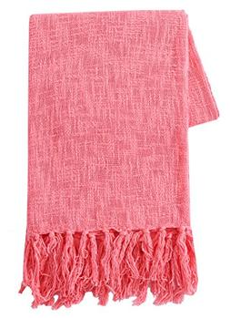 SLPR 100% Cotton Throw Blanket with Fringes  | Soft Washable
