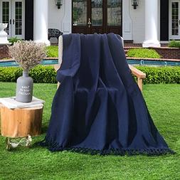 HollyHOME 100% Cotton Throw Blanket 50x60 Inches Soft All Se