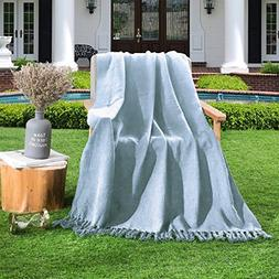 HollyHOME 100% Cotton Throw Blanket Sky Blue 50x60 Soft All