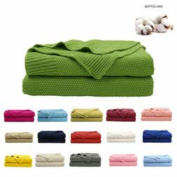 Cotton Throw Blanket Textured Solid Soft Sofa Cover Decorati