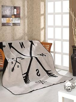 Soft&Softly Cotton Throw Blanket Twin Size Double Face, Made
