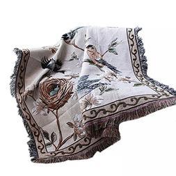 NKTM Cotton Throw Blankets with Tassels Flower/Bird Beige fo
