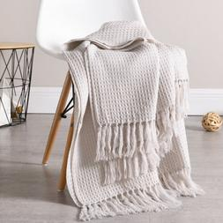 Couch and Sofa Waffle Throw Blanket with Fringe Soft Lightwe