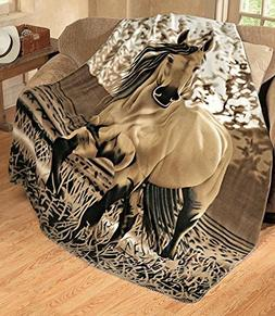 Country Charming Galloping Horse Soft Fleece Throw Size 63x7