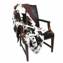 Cowhide Print and Sherpa Plush Sleeping Partners Throw Blank