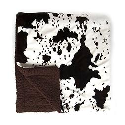 Cowhide Print and Sherpa Plush Throw Blanket Bedding Blanket