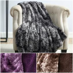 Chezmoi Collection Cozy Soft Faux Wolf Fur Throw Blanket w/