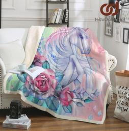 Cozy Unicorn Rose Velvet Plush Throw Blanket Sherpa Bedding