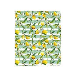 VROSELV Custom Blanket Nature Blooming Lemon Tree on Striped