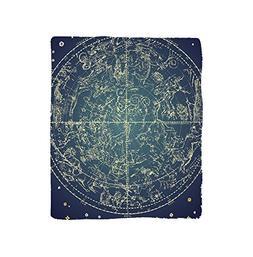 VROSELV Custom Blanket Space Vintage Chart Constellation of