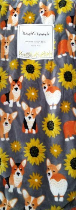 🐕🌻 Cute Corgi Sunflowers Plush Throw Blanket oversized