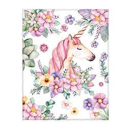 QH Cute Unicorn and Flower Print Super Soft Throw Blanket fo
