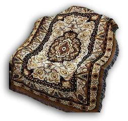 DaDa Bedding Elegant Golden Persian Rug Floral Tapestry Thro