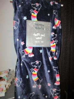 Dancing Rainbow Dachshund Navy Blue Blanket Soft Plush Throw