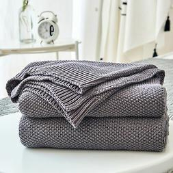 Dark Grey Cotton Cable Knit Throw Blanket for Couch Sofa Cha
