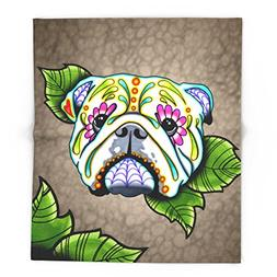 """Society6 Day Of The Dead English Bulldog Sugar Skull Dog 51"""""""