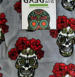 Day of the Dead Floral Sugar Skull Luxe Plush Throw Blanket