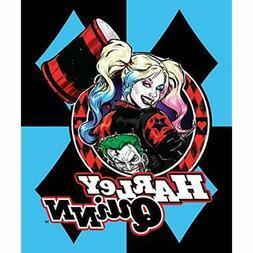 DC Throws Comics Harley Quinn Blue Diamonds Joker Fleece Bla