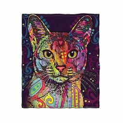 Dean Russo Confident Cat Fleece Throw Blanket