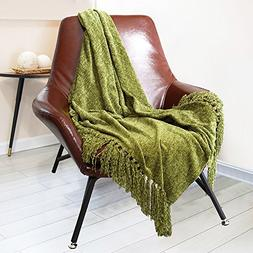 DOZZZ Decorative Chenille Thick Couch Throw Blanket with Fri