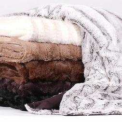 Decorative Reversible Faux Fur & Mink Throw Blanket 50 X 60