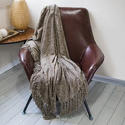 DOZZZ Chenille Couch Throw Blanket with Decorative Fringe fo