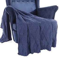 Battilo Diamond Cable Knit Chenille Throw Blanket for Couch