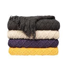 Diamond Pattered Woven Decorative Fringe Sofa Bed Soft Throw