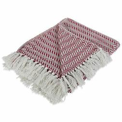 Design Imports DII Barn Red Herringbone Chevron Throw