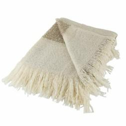 DII Rugby Stripe Acrylic Throw Brown