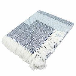 DII Rustic Farmhouse Cotton Stripe Blanket Throw with Fringe