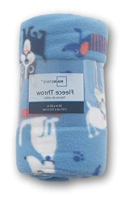 Dogs and Cats Patterned Fleece Throw Blanket - 50in X 60in